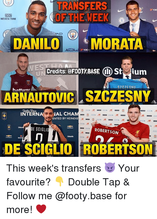 robertsons: TRANSFERS  OF THE WEEK  NEXEN TIRE  AD  DANILOMORATA  WES  Credits: @FOOTY BASE I) Stium  ARNAUTOVIC SZCZESNY  INTERIAL CHA  ENTED BY HEINEKE  DE SCIGLIO  ROBERTSON  冂  Olondo  .  DE SCIGLIO ROBERTSON This week's transfers 😈 Your favourite? 👇 Double Tap & Follow me @footy.base for more! ❤️