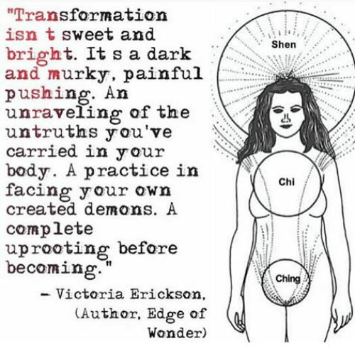 "Memes, 🤖, and Rational: ""Transfor Ration  isn t sweet and  bright  a dark Shen  It s and murky, painful  pushing. An  unraveling of the  untruths you've  carried in your  body. A practice in  Chi  facing your own  created demons. A  complete  uprooting before  becoming  Ch  Victoria Erickson  (Author, Edge of  Wonder)"