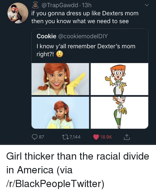 Racial: @TrapGawdd 13h  if you gonna dress up like Dexters mom  then you know what we need to see  Cookie @cookiemodelDIY  I know y'all remember Dexter's mom  right?!  987 t7144 18.9K Girl thicker than the racial divide in America (via /r/BlackPeopleTwitter)