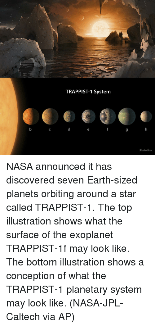 Memes, Nasa, and Discover: TRAPPIST-1 System  Illustration NASA announced it has discovered seven Earth-sized planets orbiting around a star called TRAPPIST-1. The top illustration shows what the surface of the exoplanet TRAPPIST-1f may look like. The bottom illustration shows a conception of what the TRAPPIST-1 planetary system may look like. (NASA-JPL-Caltech via AP)