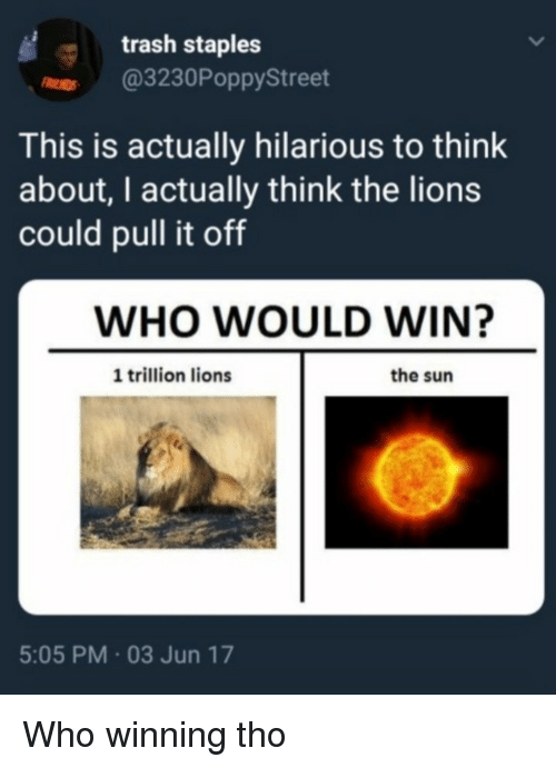 Staples: trash staples  r @3230PoppyStreet  This is actually hilarious to think  about, I actually think the lions  could pull it off  WHO WOULD WIN?  1 trillion lions  the sun  5:05 PM 03 Jun 17 Who winning tho