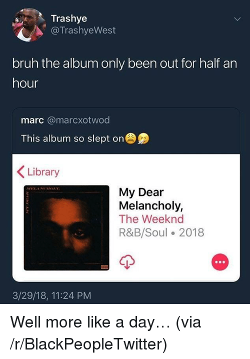 Melancholy: Trashye  @TrashyeWest  bruh the album only been out for half an  hour  marc @marcxotwod  This album so slept on  Library  My Dear  Melancholy,  The Weeknd  R&B/Soul 2018  3/29/18, 11:24 PM <p>Well more like a day… (via /r/BlackPeopleTwitter)</p>