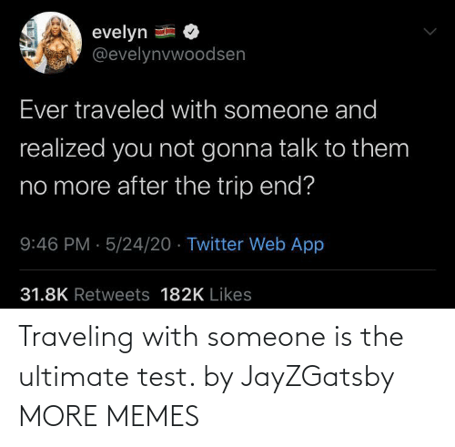 Ultimate: Traveling with someone is the ultimate test. by JayZGatsby MORE MEMES