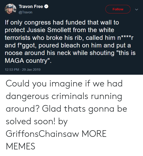 """Bleach: Travon Free  @Travon  Follow  If only congress had funded that wall to  protect Jussie Smollett from the white  terrorists who broke his rib, called him n****r  and f*ggot, poured bleach on him and put a  noose around his neck while shouting """"this is  MAGA country""""  12:53 PM- 29 Jan 2019 Could you imagine if we had dangerous criminals running around? Glad thats gonna be solved soon! by GriffonsChainsaw MORE MEMES"""