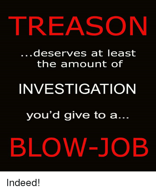 Blowing Job: TREASON  deserves at least  the ammount of  INVESTIGATION  you'd give to a  BLOW-JOB Indeed!
