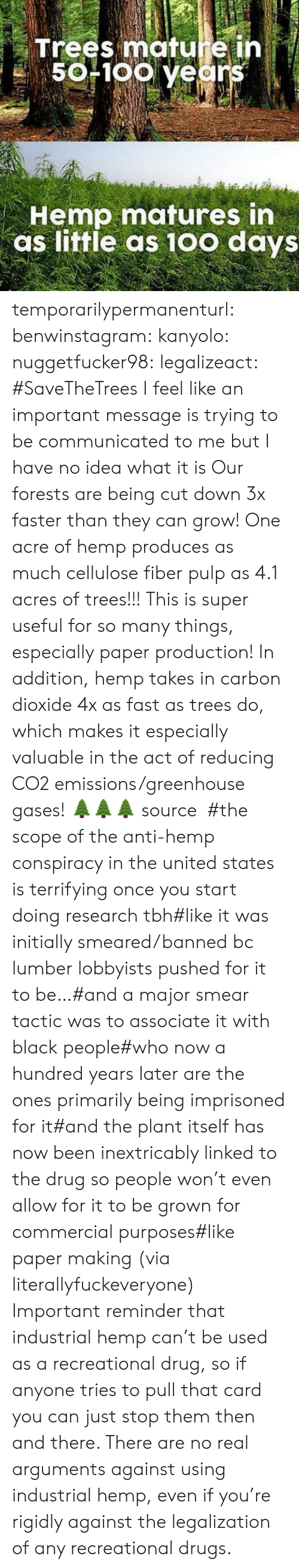 industrial: Trees mature ih  50F1oo years  Hemp matures in  as little as 10o days temporarilypermanenturl:  benwinstagram:  kanyolo:  nuggetfucker98:  legalizeact:  #SaveTheTrees  I feel like an important message is trying to be communicated to me but I have no idea what it is  Our forests are being cut down 3x faster than they can grow! One acre of hemp produces as much cellulose fiber pulp as 4.1 acres of trees!!! This is super useful for so many things, especially paper production! In addition, hemp takes in carbon dioxide 4x as fast as trees do, which makes it especially valuable in the act of reducing CO2 emissions/greenhouse gases! 🌲🌲🌲source  #the scope of the anti-hemp conspiracy in the united states is terrifying once you start doing research tbh#like it was initially smeared/banned bc lumber lobbyists pushed for it to be…#and a major smear tactic was to associate it with black people#who now a hundred years later are the ones primarily being imprisoned for it#and the plant itself has now been inextricably linked to the drug so people won't even allow for it to be grown for commercial purposes#like paper making(via literallyfuckeveryone)   Important reminder that industrial hemp can't be used as a recreational drug, so if anyone tries to pull that card you can just stop them then and there. There are no real arguments against using industrial hemp, even if you're rigidly against the legalization of any recreational drugs.