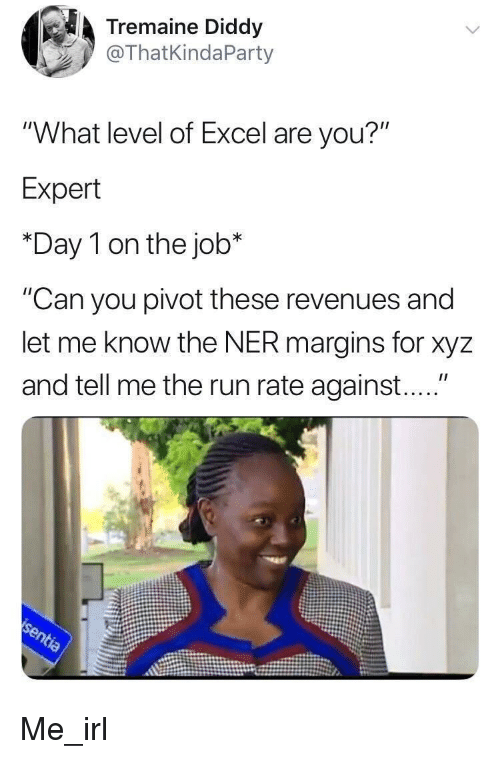 "xyz: Tremaine Diddy  @ThatKindaParty  ""What level of Excel are you?""  Expert  *Day 1 on the job*  ""Can you pivot these revenues and  let me know the NER margins for xyz  and tell me the run rate against...."" Me_irl"