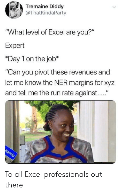 "Diddy: Tremaine Diddy  @ThatKindaParty  ""What level of Excel are you?""  Expert  *Day 1 on the job*  ""Can you pivot these revenues and  let me know the NER margins for xyz  and tell me the run rate against...."" To all Excel professionals out there"