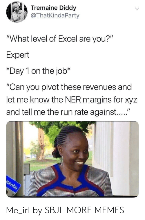 "Diddy: Tremaine Diddy  @ThatKindaParty  ""What level of Excel are you?""  Expert  *Day 1 on the job*  ""Can you pivot these revenues and  let me know the NER margins for xyz  and tell me the run rate against...."" Me_irl by SBJL MORE MEMES"