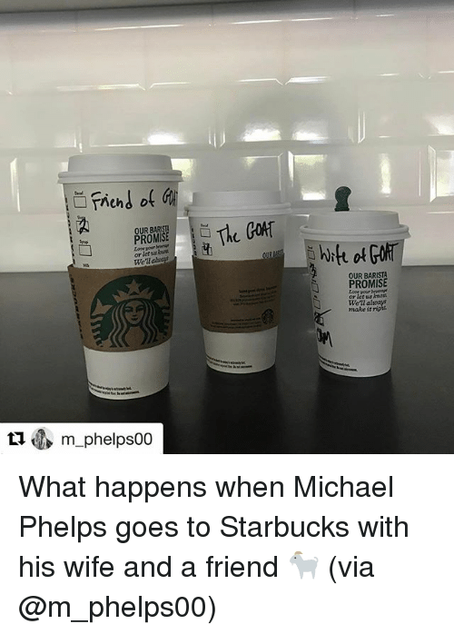 Sports, Gor, and Trending: Trend of  PROMISE  or let  ualt  ti m phelps00  The GOR  hit of  BARISTA  PROMISE What happens when Michael Phelps goes to Starbucks with his wife and a friend 🐐 (via @m_phelps00)