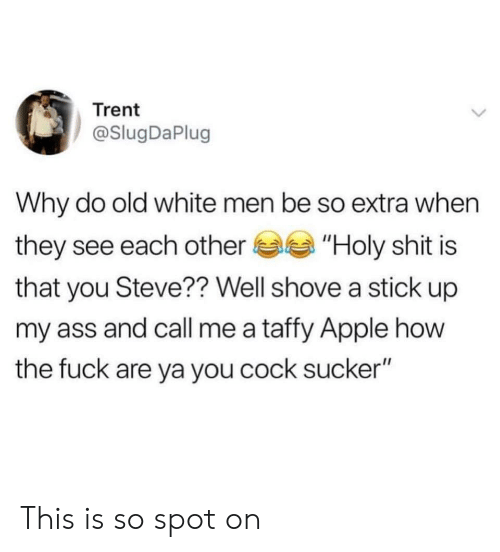 "trent: Trent  @SlugDaPlug  Why do old white men be so extra when  they see each other""Holy shit is  that you Steve?? Well shove a stick up  my ass and call me a taffy Apple how  the fuck are ya you cock sucker"" This is so spot on"