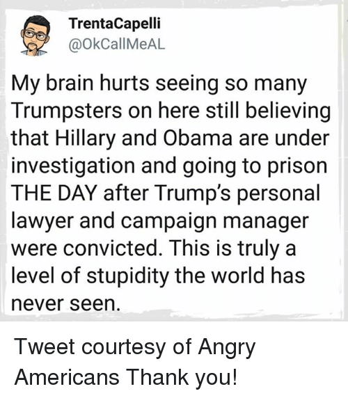 Lawyer, Obama, and Prison: TrentaCapelli  @OkCallMeAL  My brain hurts seeing so many  Trumpsters on here still believing  that Hillary and Obama are under  investigation and going to prison  THE DAY after Trump's personal  lawyer and campaign manager  were convicted. This is truly a  level of stupidity the world has  never seen Tweet courtesy of Angry Americans   Thank you!