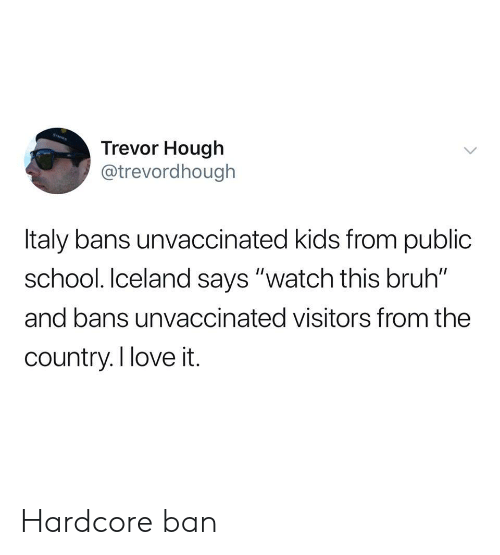 "Iceland: Trevor Hough  @trevordhough  Italy bans unvaccinated kids from public  school. Iceland says ""watch this bruh""  and bans unvaccinated visitors from the  country.I love it. Hardcore ban"