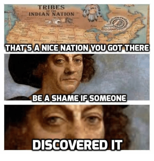 Discover, Indian, and Dank Memes: TRIBES  INDIAN NATION  THAT A NICE NATION YOU GOT THERE  BE A SHAME IF SOMEONE  DISCOVERED IT