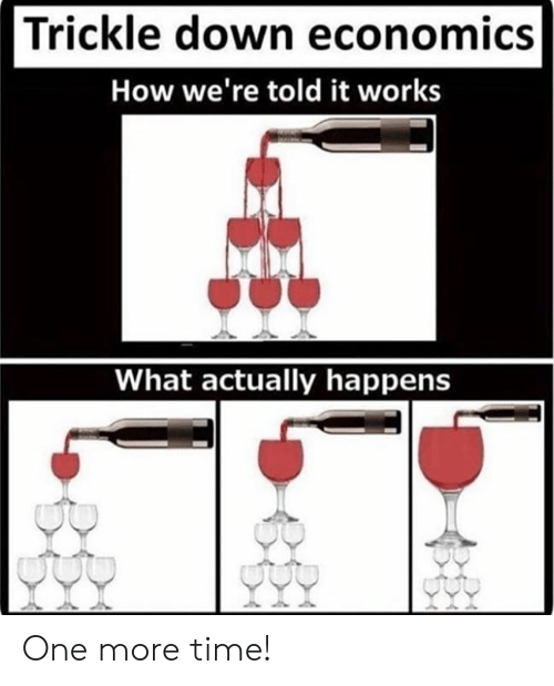 one more time: Trickle down economics  How we're told it works  What actually happens One more time!