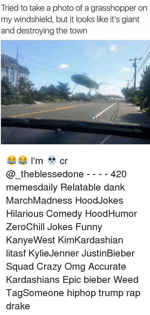 Kardashians, Memes, and Giant: Tried to take a photo of a grasshopper on  my windshield, but it looks like it's giant  and destroying the town 😂😂 I'm 💀 cr @_theblessedone - - - - 420 memesdaily Relatable dank MarchMadness HoodJokes Hilarious Comedy HoodHumor ZeroChill Jokes Funny KanyeWest KimKardashian litasf KylieJenner JustinBieber Squad Crazy Omg Accurate Kardashians Epic bieber Weed TagSomeone hiphop trump rap drake