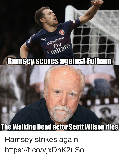 the walking: Tro  Ramsey.scores against Fulham  The Walking Dead actor Scott Wilsondies Ramsey strikes again https://t.co/vjxDnK2uSo