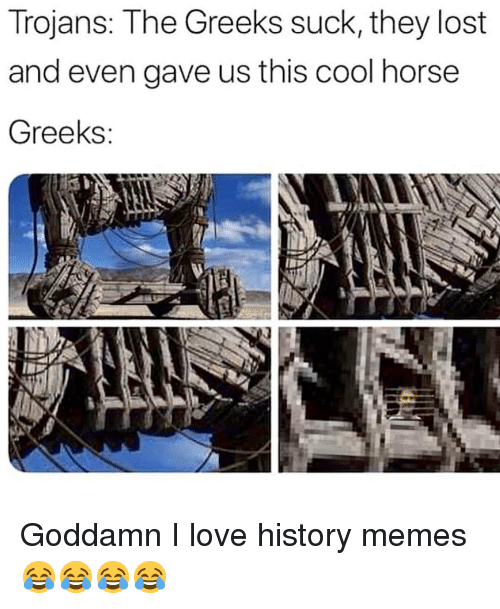 History Memes: Trojans: The Greeks suck, they lost  and even gave us this cool horse  Greeks Goddamn I love history memes 😂😂😂😂