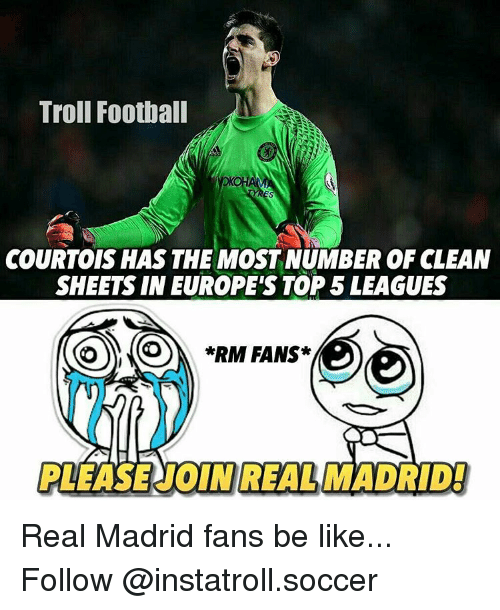 Rims: Troll Football  COURTOIS HAS THE MOST NUMBER OF CLEAN  SHEETS IN EUROPE'S TOP 5 LEAGUES  *RIM FANS  REAL MAD Real Madrid fans be like... Follow @instatroll.soccer
