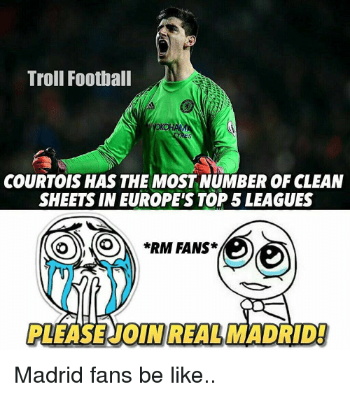 Rims: Troll Football  COURTOIS HAS THE MOSTNUMBER OF CLEAN  SHEETS IN EUROPE'S TOP 5 LEAGUES  *RIM FANS  REAL MAD Madrid fans be like..