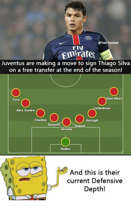 Memes, Troll, and Trolling: @Troll Football  Emirates  Juventus are making a move to sign Thiago Silva  on a free transfer at the end of the season!  ni Alves  chtsteiner  Alex Sandro  On O  Chiellini  Barzagli  Benatia  And this is their  current Defensive  Depth!
