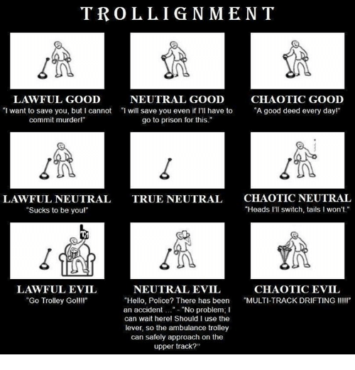 "trolleys: TROLLIGNMENT  LAWFUL GOOD  NEUTRAL GOOD  CHAOTIC GOOD  ""I want to save you, but I cannot ""I will save you even if I'Il have to ""A good deed every dayl""  even i rI have to""A good deed every dayr  commit murderl""  go to prison for this.""  LAWFUL NEUTRAL  ""Sucks to be youl""  CHAOTIC NEUTRAL  ""Heads l'll switch, tails I won't  TRUE NEUTRAL  1n  LAWFUL EVIL  ""Go Trolley Goll!  NEUTRAL EVIL  CHAOTIC EVIL  ""Hello, Police? There has been MULTI-TRACK DRIFTING III  an accident..""- ""No problem; I  can wait herel Should I use the  lever, so the ambulance trolley  can safely approach on the  upper track?"""