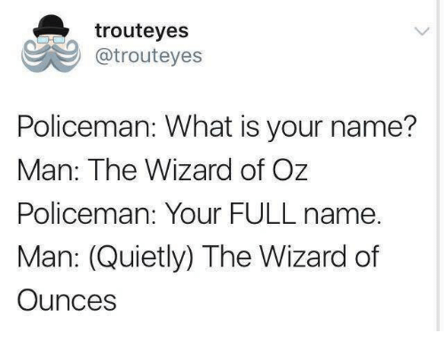 what is your name: trouteyes  @trouteyes  Policeman: What is your name?  Man: The Wizard of Oz  Policeman: Your FULL name.  Man: (Quietly) The Wizard of  Ounces