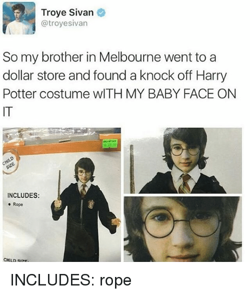 Harry Potter, Memes, and Troye Sivan: Troye Sivan  @troyesivan  So my brother in Melbourne went to a  dollar store and found a knock off Harry  Potter costume wlTH MY BABY FACE ON  IT  INCLUDES:  e Rope  CHILD SIZ INCLUDES: rope