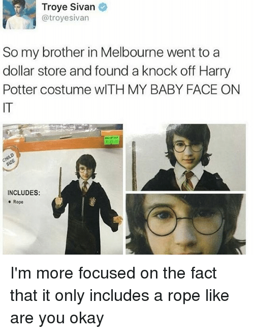 Harry Potter, Troye Sivan, and Dollar Store: Troye Sivan  @troyesivan  So my brother in Melbourne went to a  dollar store and found a knock off Harry  Potter costume wITH MY BABY FACE ON  IT  INCLUDES:  e Rope I'm more focused on the fact that it only includes a rope like are you okay