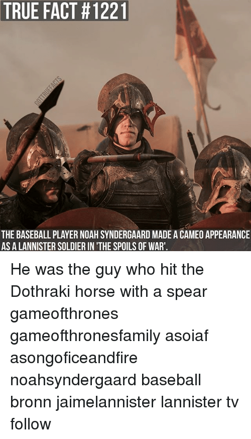 Baseball, Memes, and True: TRUE FACT #12211  THE BASEBALL PLAYER NOAH SYNDERGAARD MADE A CAMEO APPEARANCE  AS A LANNISTER SOLDIER IN'THE SPOILS OF WAR'. He was the guy who hit the Dothraki horse with a spear gameofthrones gameofthronesfamily asoiaf asongoficeandfire noahsyndergaard baseball bronn jaimelannister lannister tv follow