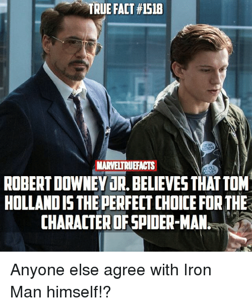 Iron Man, Memes, and Robert Downey Jr.: TRUE FACT #1518  MARVELTRUEFACTS  Et  ROBERT DOWNEY JR, BELIEVESTHATTOM  HOLLAND IS THE PERFECT CHOICE FOR THE  CHARACTER OF SPIDER-MAN Anyone else agree with Iron Man himself!?