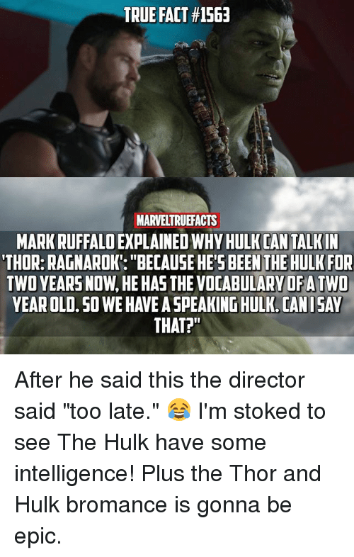 "Memes, True, and Hulk: TRUE FACT #1563  MARVELTRUEFACTS  MARK RUFFALO EXPLAINED WHY HULK CAN TALKIN  'THOR:RAGNAROK: ""BECAUSE HE'S BEEN THE HULK FOR  TWO YEARS NOW, HE HAS THE VOCABULARY OFA TWD  YEAR OLD. SO WE HAVE A SPEAKING HULK. CANISAY  THAT?"" After he said this the director said ""too late."" 😂 I'm stoked to see The Hulk have some intelligence! Plus the Thor and Hulk bromance is gonna be epic."