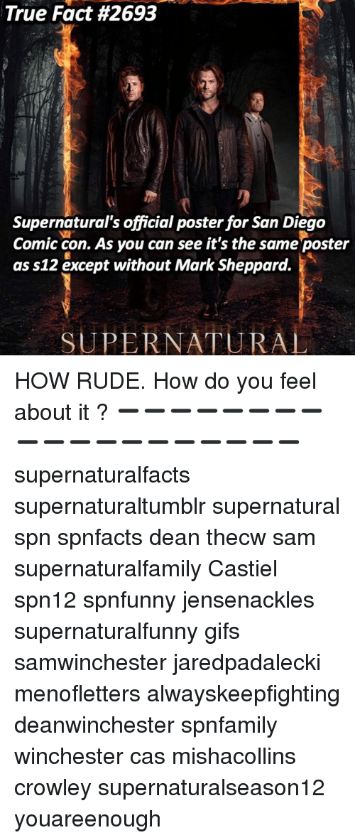 Memes, Rude, and True: True Fact #2693  Supernatural's official poster for San Diego  Comic con. As you can see it's the same poster  as s12 except without Mark Sheppard.  疣  SUPERNATURAL HOW RUDE. How do you feel about it ? ➖➖➖➖➖➖➖➖➖➖➖➖➖➖➖➖➖➖➖ supernaturalfacts supernaturaltumblr supernatural spn spnfacts dean thecw sam supernaturalfamily Castiel spn12 spnfunny jensenackles supernaturalfunny gifs samwinchester jaredpadalecki menofletters alwayskeepfighting deanwinchester spnfamily winchester cas mishacollins crowley supernaturalseason12 youareenough