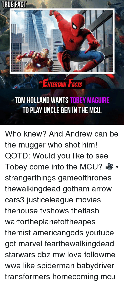tom hollander: TRUE FACT  ENTERIAIN FACTS  NTERTAIN FACTS  TOM HOLLAND WANTS TOBEY MAGUIRE  TO PLAY UNCLE BEN IN THE MCU. Who knew? And Andrew can be the mugger who shot him! QOTD: Would you like to see Tobey come into the MCU? 🎥 • strangerthings gameofthrones thewalkingdead gotham arrow cars3 justiceleague movies thehouse tvshows theflash warfortheplanetoftheapes themist americangods youtube got marvel fearthewalkingdead starwars dbz mw love followme wwe like spiderman babydriver transformers homecoming mcu