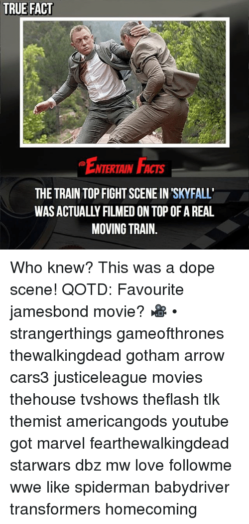fight scenes: TRUE FACT  ENTERTAIN FACTS  THE TRAIN TOP FIGHT SCENE IN SKYFALL  WAS ACTUALLY FILMED ON TOP OF A REAL  MOVING TRAIN. Who knew? This was a dope scene! QOTD: Favourite jamesbond movie? 🎥 • strangerthings gameofthrones thewalkingdead gotham arrow cars3 justiceleague movies thehouse tvshows theflash tlk themist americangods youtube got marvel fearthewalkingdead starwars dbz mw love followme wwe like spiderman babydriver transformers homecoming