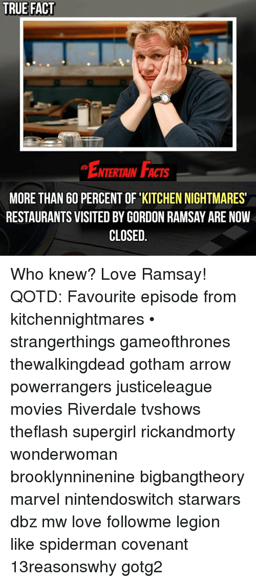 Facts, Gordon Ramsay, and Love: TRUE FACT  NTERTAIN FACTS  MORE THAN 60 PERCENT OF KITCHEN NIGHTMARES'  RESTAURANTS VISITED BY GORDON RAMSAY ARE NOW  CLOSED Who knew? Love Ramsay! QOTD: Favourite episode from kitchennightmares • strangerthings gameofthrones thewalkingdead gotham arrow powerrangers justiceleague movies Riverdale tvshows theflash supergirl rickandmorty wonderwoman brooklynninenine bigbangtheory marvel nintendoswitch starwars dbz mw love followme legion like spiderman covenant 13reasonswhy gotg2