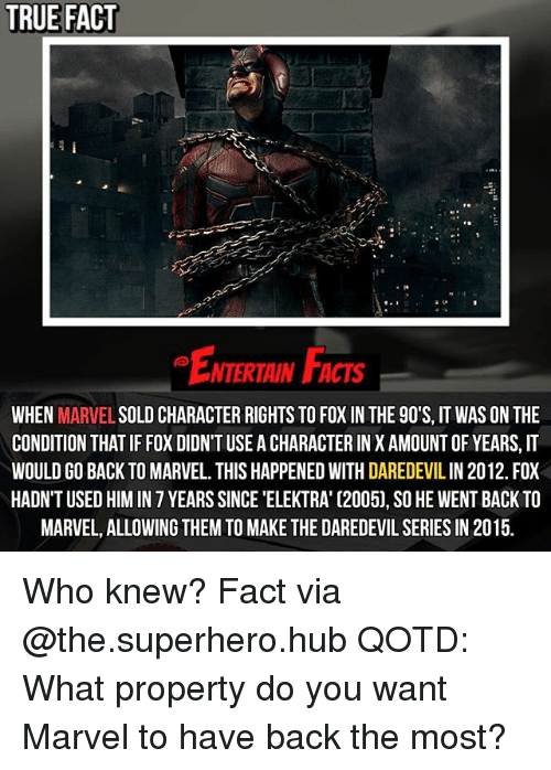 Memes, Superhero, and True: TRUE FACT  NTERTAIN FCTs  WHEN  MARVEL  SOLD CHARACTER RIGHTS TO FOXIN THE 90'S, IT WAS ON THE  CONDITION THATIF FOX DIDNT USE ACHARACTERIN X AMOUNT OF YEARS, IT  WOULD GO BACK TO MARVEL. THIS HAPPENED WITH DAREDEVILIN 2012. FOX  HADN'T USED HIM IN 7 YEARS SINCE 'ELEKTRA' C2005), SO HE WENT BACK TO  MARVEL, ALLOWING THEM TO MAKE THE DAREDEVIL SERIES IN 2015. Who knew? Fact via @the.superhero.hub QOTD: What property do you want Marvel to have back the most?