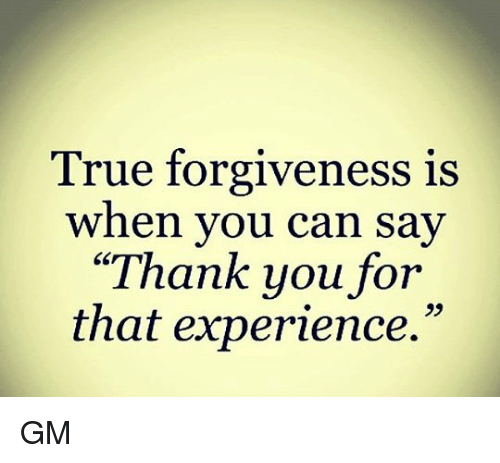 Memes, True, and Thank You: True forgiveness is  when you can say  Thank you for  that experience. GM