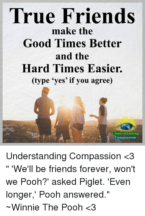 """Memes, Winnie the Pooh, and Compassion: True Friends  make the  Good Times Better  and the  Hard Times Easier.  (type """"yes' if you agree)  Understanding  Compassion Understanding Compassion <3  """" 'We'll be friends forever, won't we Pooh?' asked Piglet.  'Even longer,' Pooh answered."""" ~Winnie The Pooh <3"""