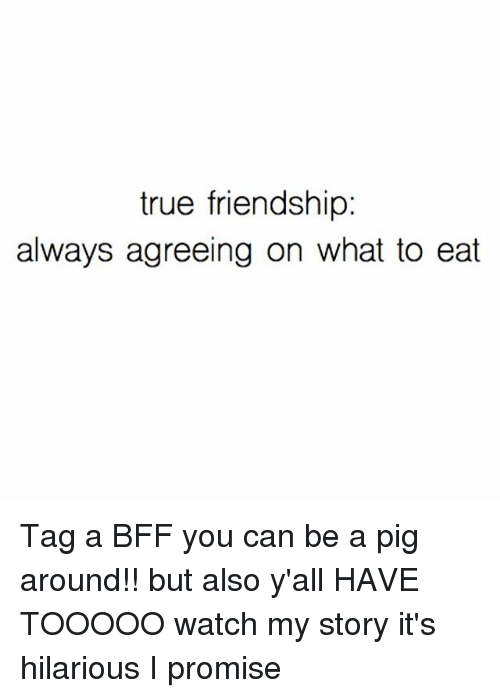 True, Watch, and Girl Memes: true friendship:  always agreeing on what to eat Tag a BFF you can be a pig around!! but also y'all HAVE TOOOOO watch my story it's hilarious I promise