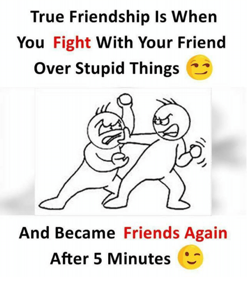 Friends, Memes, and True: True Friendship ls When  You Fight With Your Friend  Over Stupid Things  And Became Friends Again  After 5 Minutes