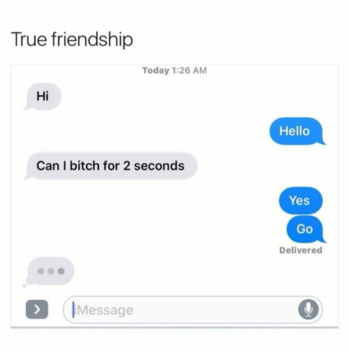 Bitch, Hello, and Memes: True friendship  Today 1:26 AM  Hi  Can bitch for 2 seconds  Message  Hello  Yes  GO  Delivered