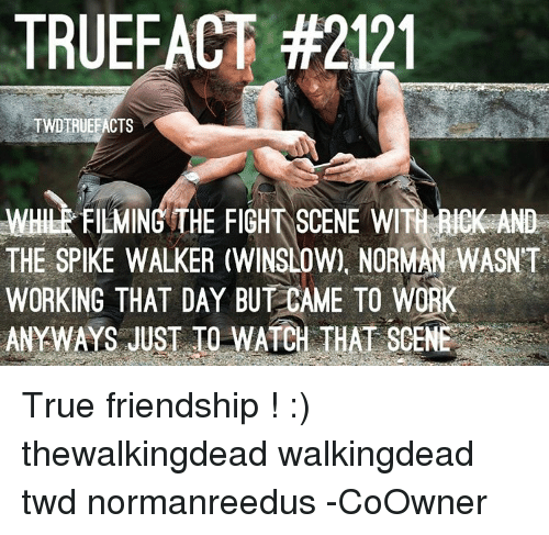 fight scenes: TRUEFACT #2121  TWDERUEFACTS  WHERFILMING THE FIGHT SCENE WITH AND  THE SPIKE WALKER (WINSLOW), NORMAN WASNT  WORKING THAT DAY BUT CAME TO WORK  ANY WAS JUST TO WATCH THAT SCENE True friendship ! :) thewalkingdead walkingdead twd normanreedus -CoOwner