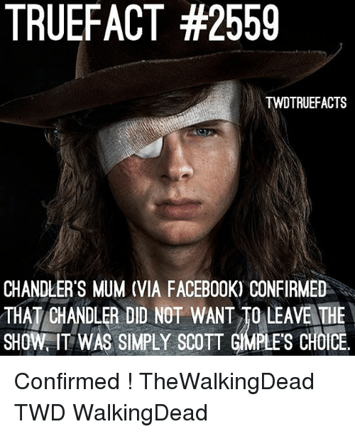 Facebook, Memes, and 🤖: TRUEFACT #2559  TWDTRUEFACTS  CHANDLER'S MUM (VIA FACEBOOK) CONFIRMED  THAT/CHANDLER DID NOT WANT TO LEAVE THE  SHOW IT WAS SIPLYCOTT GIMPLES CHOICE Confirmed ! TheWalkingDead TWD WalkingDead