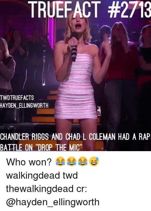 """coleman: TRUEFACT #2713  TWDTRUEFACTS  HAYDEN_ELLINGWORTH  CHANDLER RIGGS AND CHAD L COLEMAN HAD A RAP  BATTLE ON """"DROP THE MIC"""" Who won? 😂😂😂😅 walkingdead twd thewalkingdead cr: @hayden_ellingworth"""