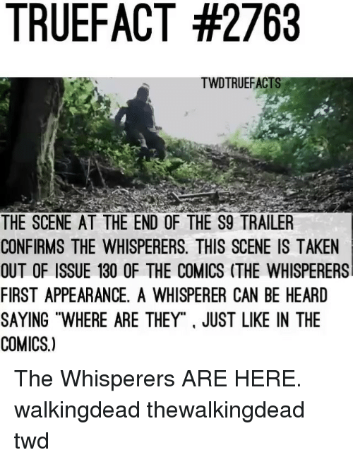 "thewalkingdead: TRUEFACT #2763  TWDTRUEFACT  THE SCENE AT THE END OF THE S9 TRAILER  CONFIRMS THE WHISPERERS. THIS SCENE IS TAKEN  OUT OF ISSUE 130 OF THE COMICS (THE WHISPERERS  FIRST APPEARANCE, A WHISPERER CAN BE HEARD  SAYING ""WHERE ARE THEY"". JUST LIKE IN THE  COMICS.) The Whisperers ARE HERE. walkingdead thewalkingdead twd"