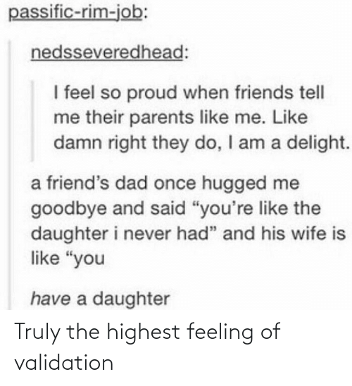 Tumblr, Feeling, and Validation: Truly the highest feeling of validation