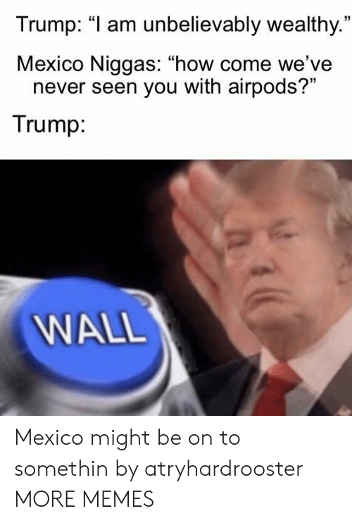 """Dank, Memes, and Target: Trump: """"1 am unbelievably wealthy.  Mexico Niggas: """"how come we've  35  never seen you with airpods?""""  Trump  WALL Mexico might be on to somethin by atryhardrooster MORE MEMES"""