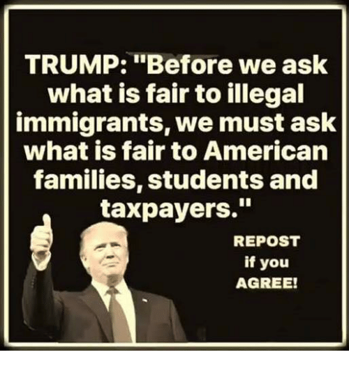 """Repost If: TRUMP: """"Before we ask  what is fair to illegal  immigrants, we must ask  what is fair to American  families, students and  taxpayers.""""  REPOST  if you  AGREE!"""