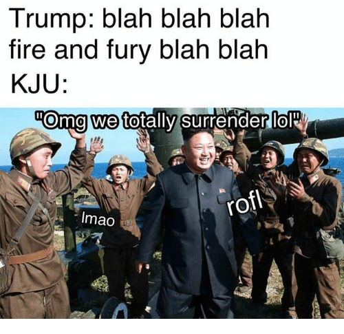 Dank, Fire, and Omg: Trump: blah blah blah  fire and fury blah blah  KJU  omg we to  tally surrenderlol  0  rofl  Imao